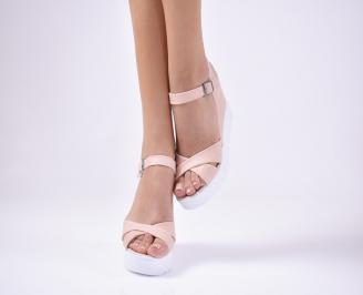 Дамски сандали  пудра