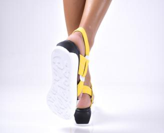 Дамски сандали  текстил жълти 3