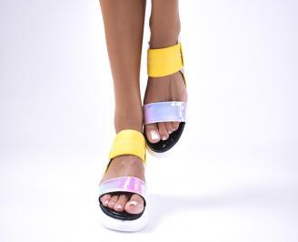 Дамски сандали  текстил жълти