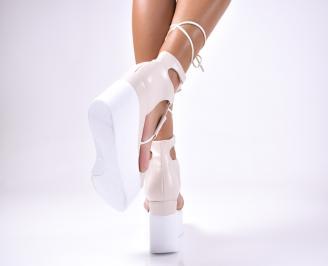 Дамски  сандали на платформа  еко кожа бежови