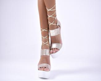 Дамски сандали текстил златисти