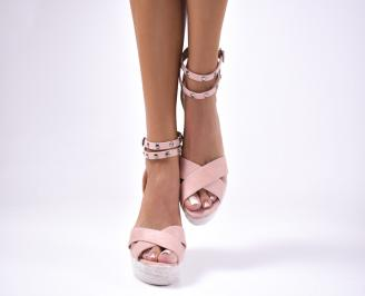 Дамски сандали велур  розови