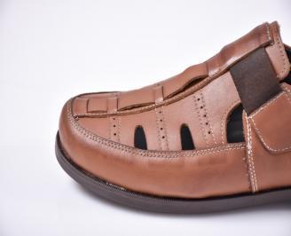 Мъжки сандали -Гигант естествена кожа кафяви