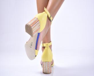 Дамски  елегантни сандали еко кожа жълти