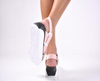 Дамски сандали  текстил пудра