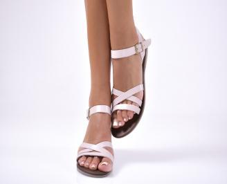 Дамски равни  сандали естествена кожа розови