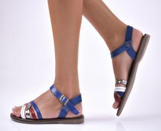 Дамски равни  сандали естествена кожа сини