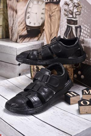 Мъжки сандали естествена кожа черни
