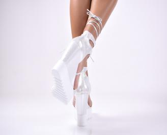 Дамски сандали еко кожа/текстил сребристи 3
