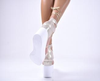Дамски сандали текстил златисти 3