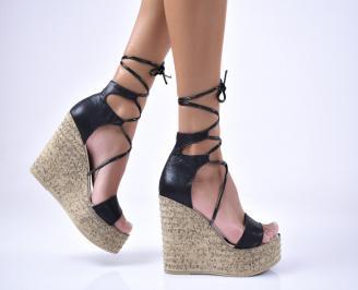 Дамски сандали еко кожа/текстил  черни