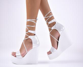 Дамски сандали текстил  сребристи