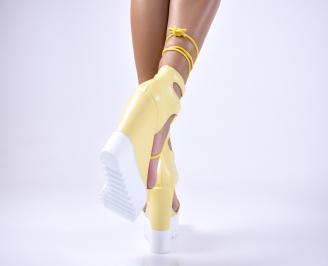 Дамски  сандали еко кожа жълти 3