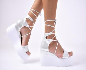 Дамски сандали еко кожа/текстил сребристи