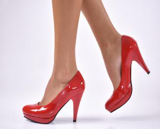 Дамски елегантни обувки на ток -Гигант еко кожа/лак  червени