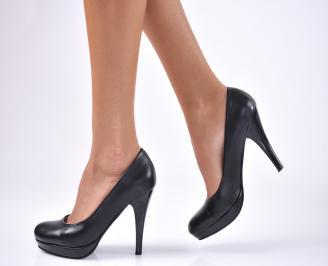 Дамски елегантни обувки на ток -Гигант еко кожа черни
