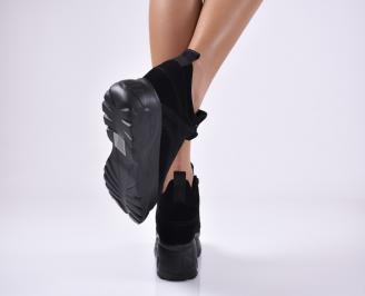 Дамски обувки на платформа естествен велур черни