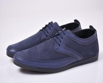Мъжки спортно елегантни  обувки набук сини