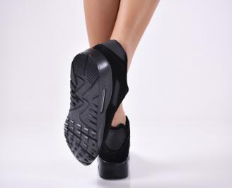 Дамски спортни  обувки еко велур  черни