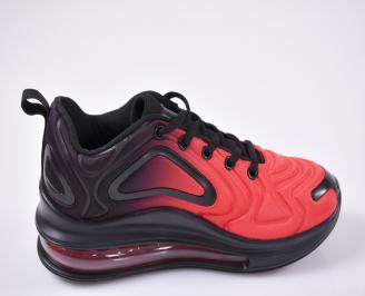 Юношески  маратонки   текстил черно/червено