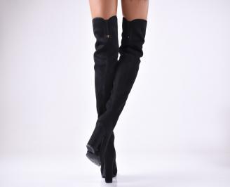 Дамски елегантни  ботуши  от еко велур черни