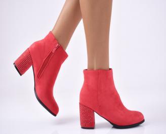 Дамски елегантни  боти червени