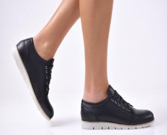 Дамски обувки равни естествена кожа черни