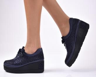 Дамски  обувки естествена кожа сини