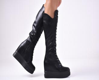 Дамски  ботуши на платформа  черни