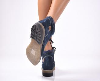 Дамски  боти естествен велур сини