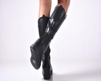 Дамски ботуши от еко кожа черни