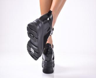Дамски обувки на платформа еко велур/кожа черни