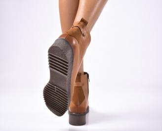 Дамски боти от естествена кожа кафяви