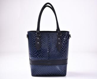 Дамска чанта еко кожа синя
