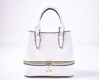 Дамска чанта еко кожа бяла