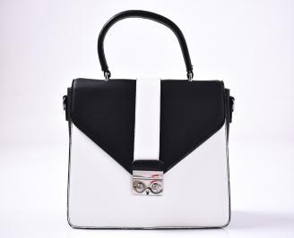Дамска чанта еко кожа черно/ бяло