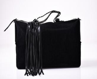 Дамска чанта текстил черна