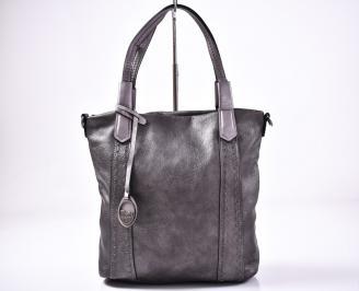 Дамска чанта еко кожа сива