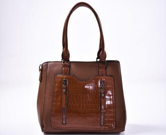 Дамска чанта еко кожа кафява