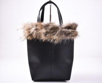 Дамска чанта еко кожа/естествен косъм черна