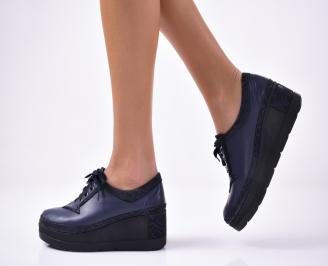 Дамски  обувки  на платформа еко кожа сини