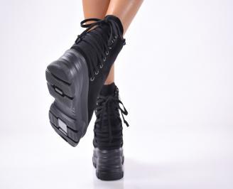 Дамски боти на платформа еко велур черни
