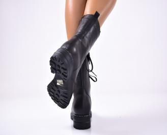 Дамски боти  естествена кожа черни