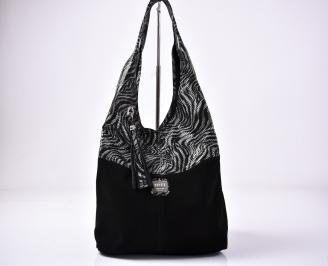 Дамска чанта естествена  кожа/ велур черна
