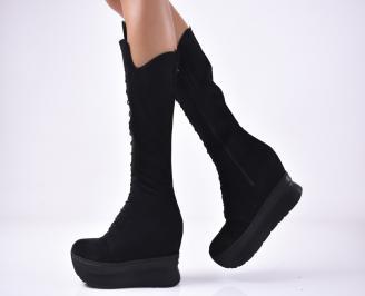 Дамски  ботуши на платформа от естествен велур черни