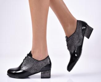 Дамски ежедневни обувки естествена кожа/лак черни.