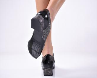 Дамски ежедневни обувки естествена кожа/лак черни. 3