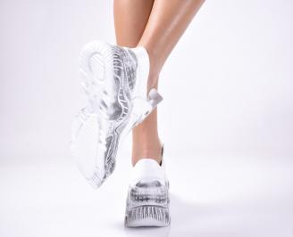 Дамски спортни обувки естествена кожа бели. 3