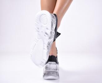 Дамски спортни обувки естествена кожа черни. 3