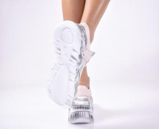 Дамски спортни обувки естествена кожа пудра.